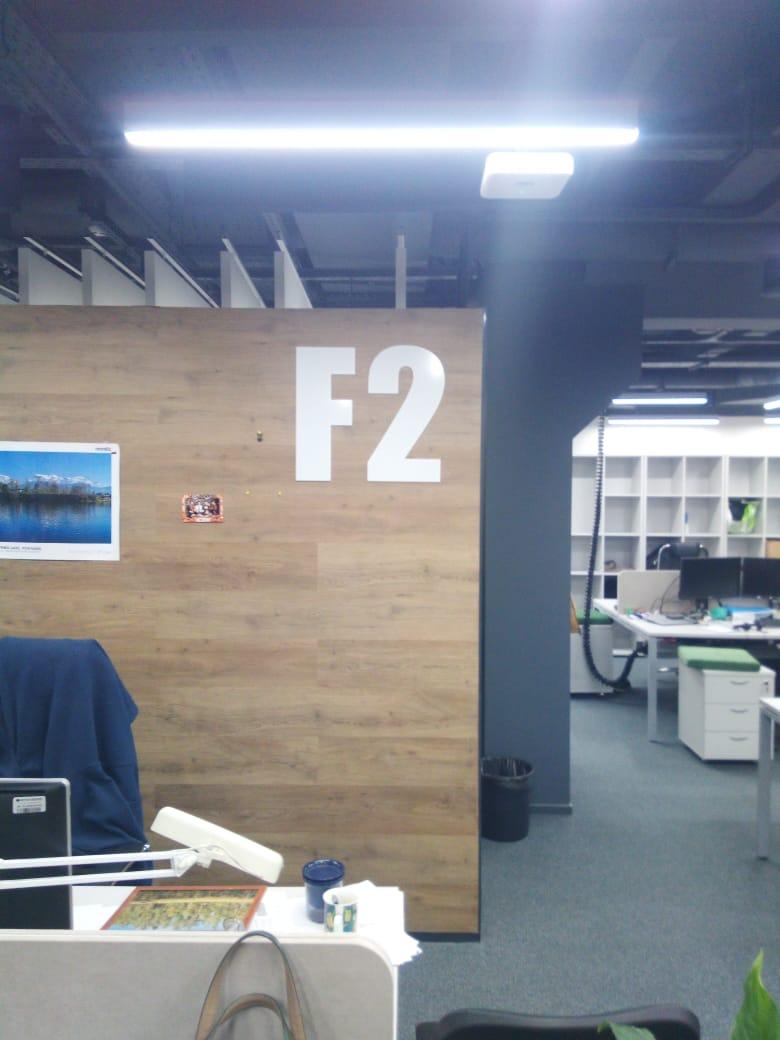 Навигационные таблички обозначения зон в офисе 'Петер-сервис'