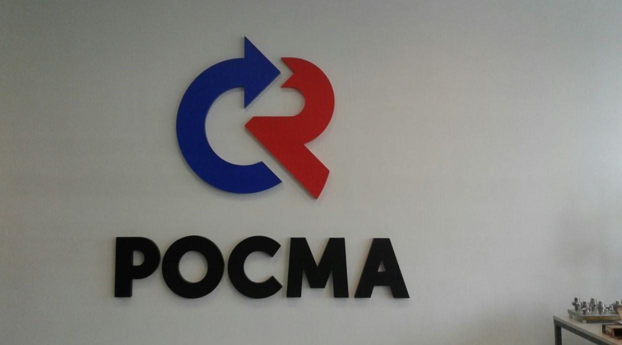 Интерьерная вывеска с логотипом в офисе 'Росма'