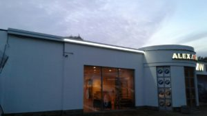 вывеска и подсветка на фасаде сервисного центра Alex Motors
