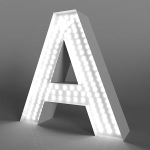 объемная буквы с открытыми светодиодами