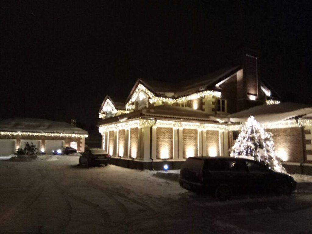 Новый год, оформление частных домов, украшение зданий, украшение дома к новому году, оформление фасада дома